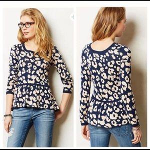 ANTHRO• Moth Leopard Print Sweater